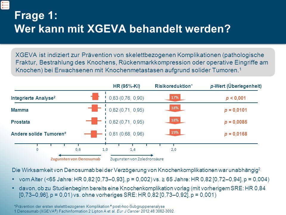 4 Frage 1: Wer kann mit XGEVA behandelt werden? Die Wirksamkeit von Denosumab bei der Verzögerung von Knochenkomplikationen war unabhängig 2 vom Alter