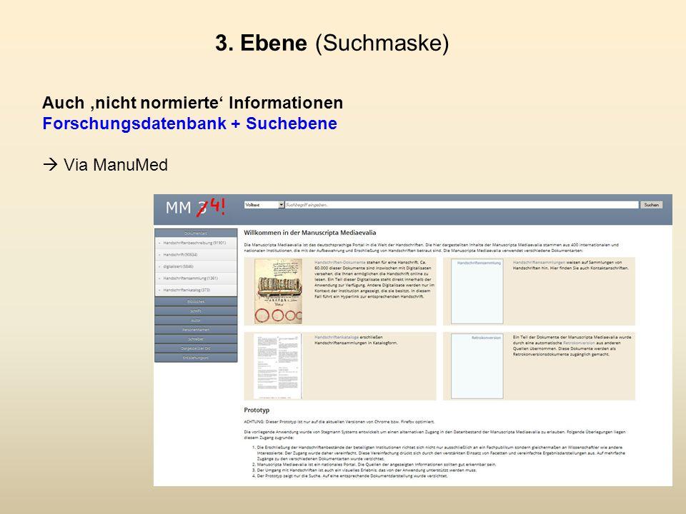 Auch 'nicht normierte' Informationen Forschungsdatenbank + Suchebene  Via ManuMed 3.