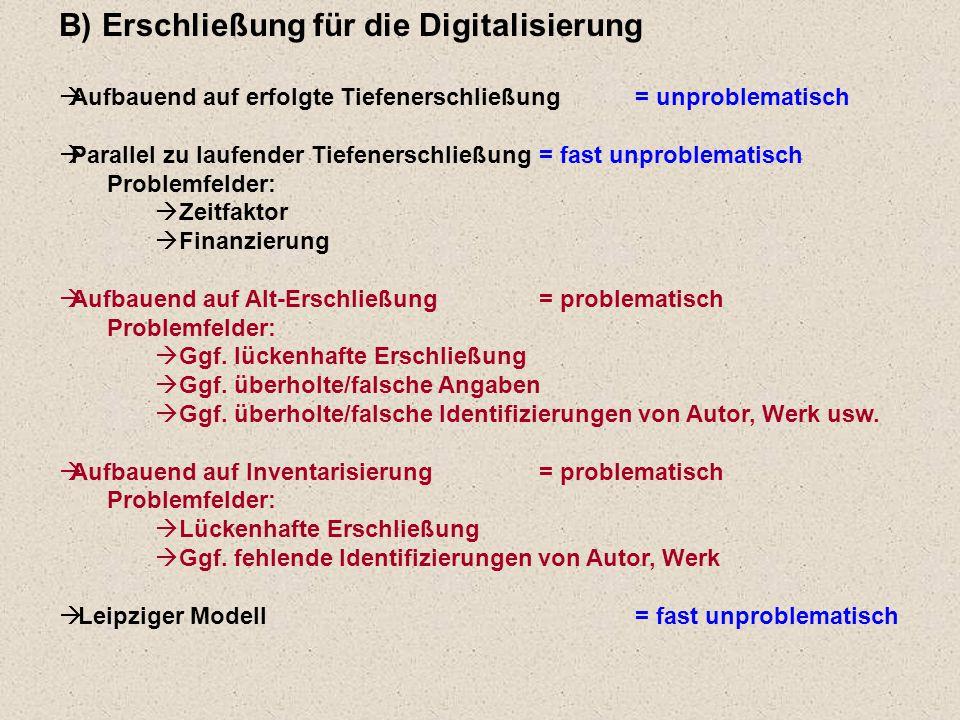 B) Erschließung für die Digitalisierung  Aufbauend auf erfolgte Tiefenerschließung = unproblematisch  Parallel zu laufender Tiefenerschließung = fast unproblematisch Problemfelder:  Zeitfaktor  Finanzierung  Aufbauend auf Alt-Erschließung= problematisch Problemfelder:  Ggf.