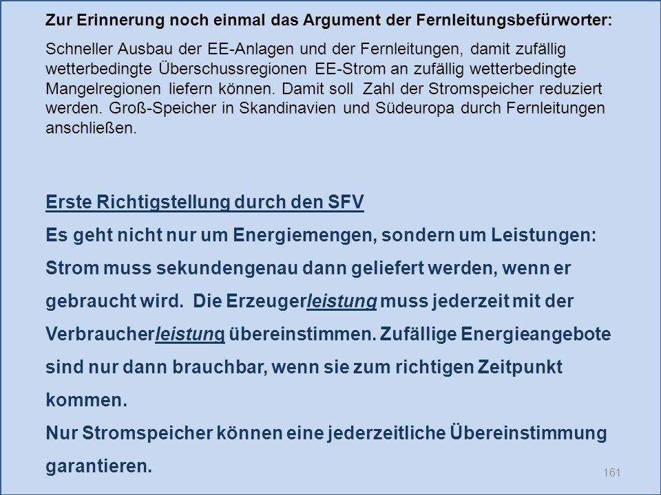 161 Erste Richtigstellung durch den SFV Es geht nicht nur um Energiemengen, sondern um Leistungen: Strom muss sekundengenau dann geliefert werden, wen