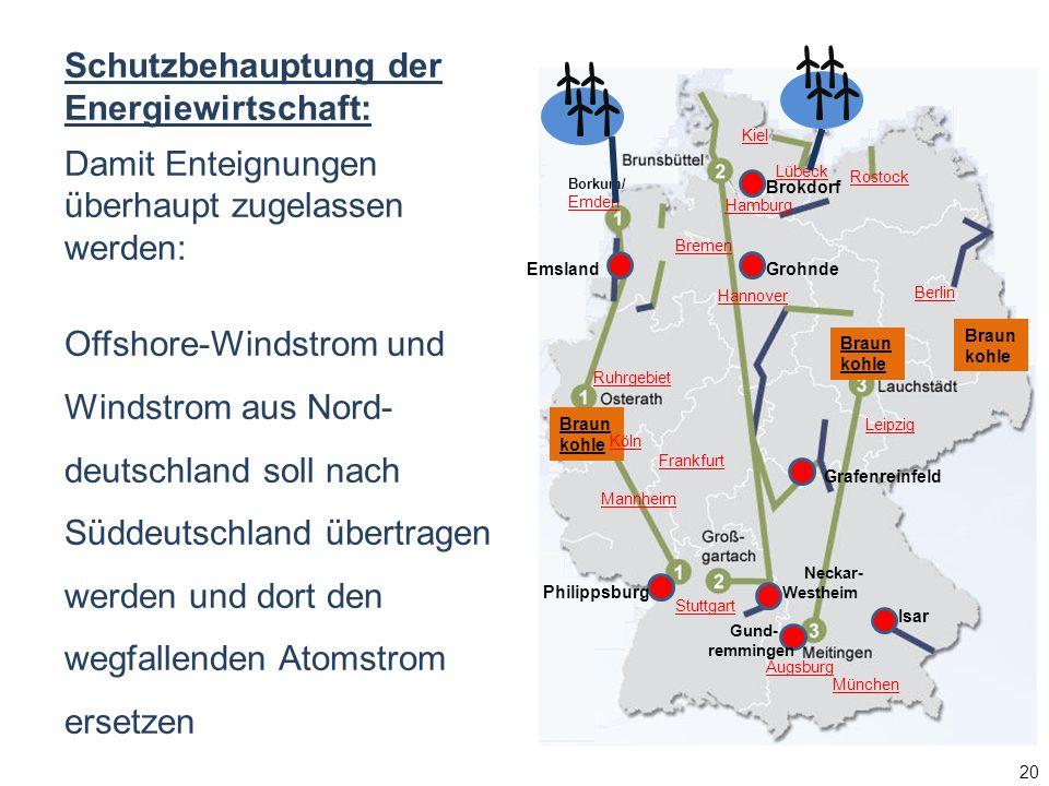Schutzbehauptung der Energiewirtschaft: Damit Enteignungen überhaupt zugelassen werden: Offshore-Windstrom und Windstrom aus Nord- deutschland soll na
