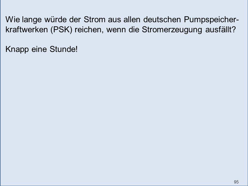 95 Wie lange würde der Strom aus allen deutschen Pumpspeicher- kraftwerken (PSK) reichen, wenn die Stromerzeugung ausfällt? Knapp eine Stunde!