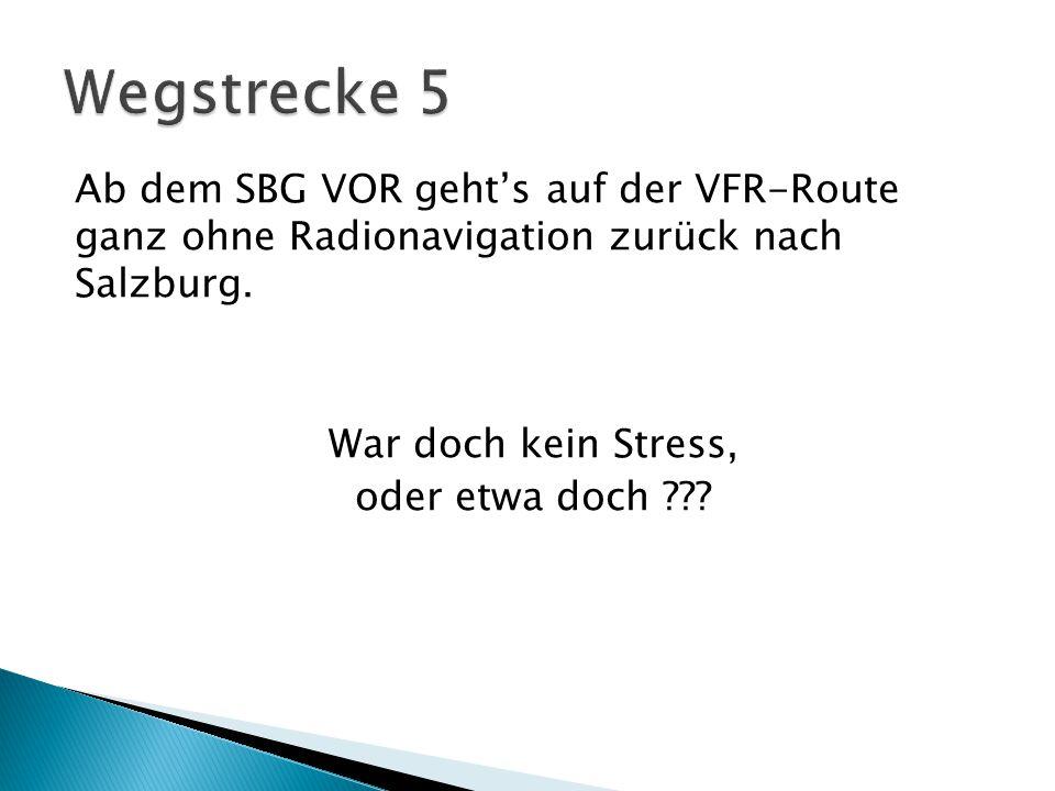 Ab dem SBG VOR geht's auf der VFR-Route ganz ohne Radionavigation zurück nach Salzburg.
