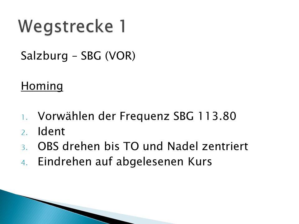 Salzburg – SBG (VOR) Homing 1.Vorwählen der Frequenz SBG 113.80 2.