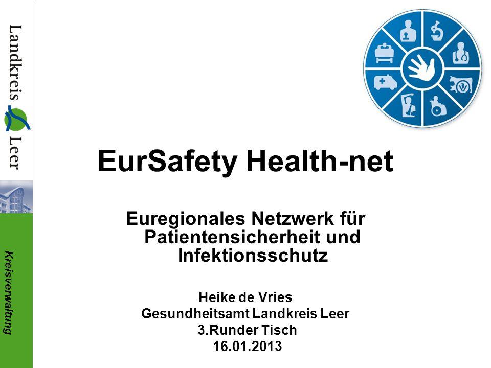Kreisverwaltung EurSafety Health-net Euregionales Netzwerk für Patientensicherheit und Infektionsschutz Heike de Vries Gesundheitsamt Landkreis Leer 3.Runder Tisch 16.01.2013