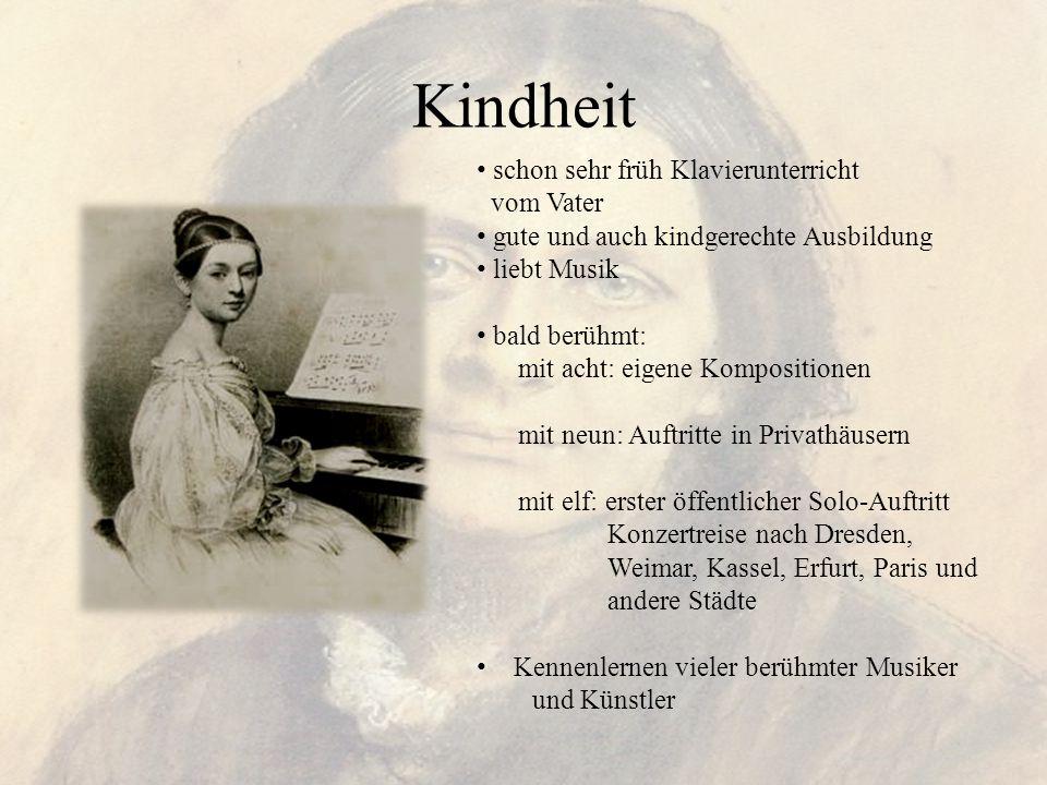 Kindheit schon sehr früh Klavierunterricht vom Vater gute und auch kindgerechte Ausbildung liebt Musik bald berühmt: mit acht: eigene Kompositionen mi