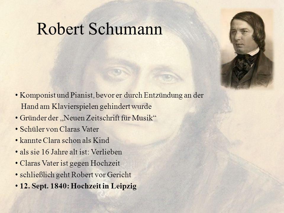 """Robert Schumann Komponist und Pianist, bevor er durch Entzündung an der Hand am Klavierspielen gehindert wurde Gründer der """"Neuen Zeitschrift für Musi"""
