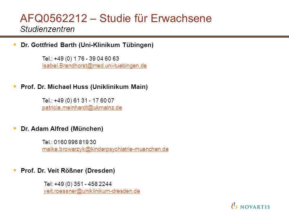 AFQ0562212 – Studie für Erwachsene Studienzentren  Dr.