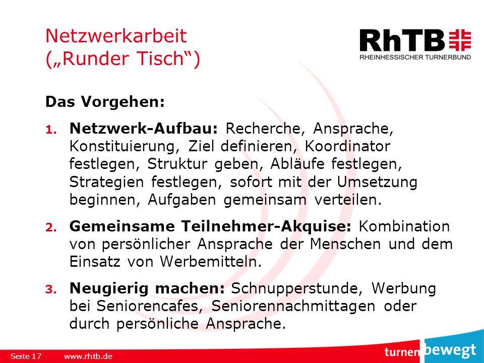 """Netzwerkarbeit (""""Runder Tisch ) Das Vorgehen: 1."""