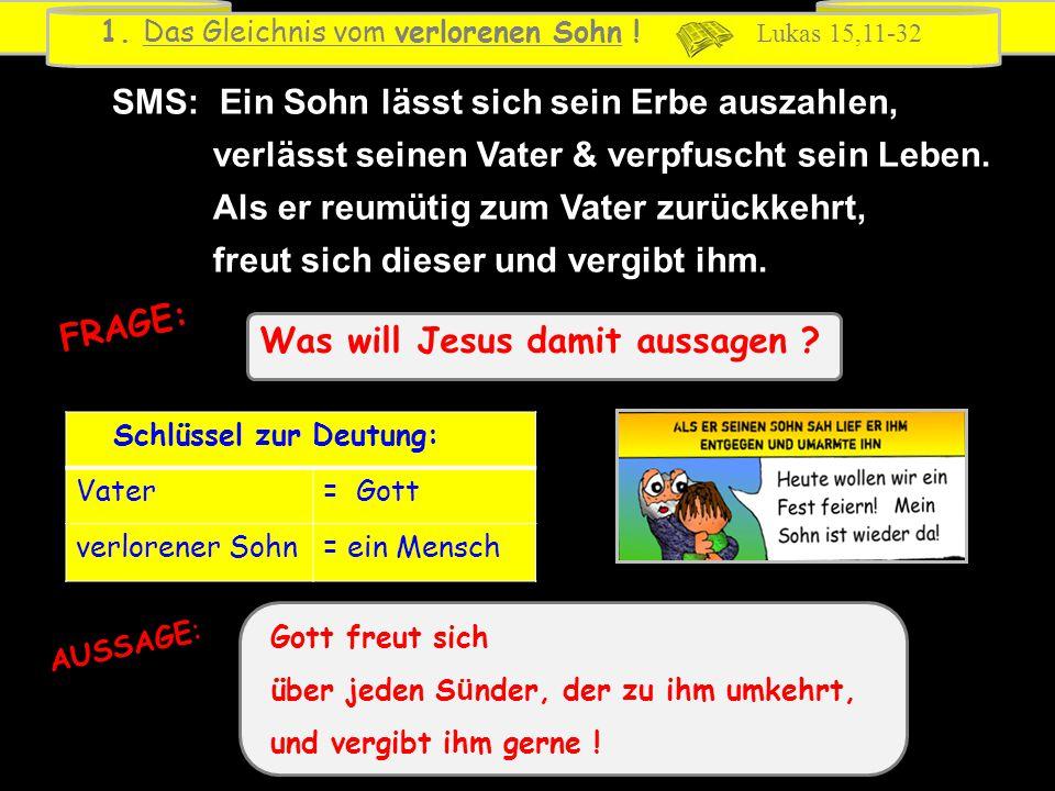 Was will Jesus damit aussagen ? FRAGE: 1. Das Gleichnis vom verlorenen Sohn ! Lukas 15,11-32 Schlüssel zur Deutung: Vater= Gott verlorener Sohn= ein M