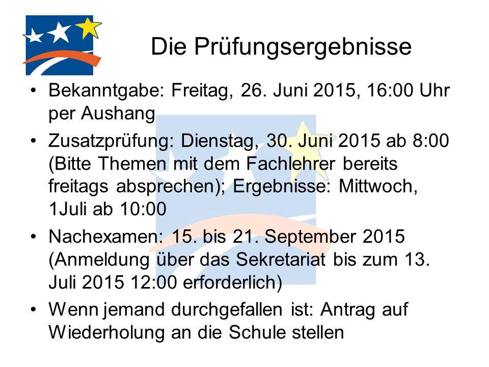 Die Prüfungsergebnisse Bekanntgabe: Freitag, 26. Juni 2015, 16:00 Uhr per Aushang Zusatzprüfung: Dienstag, 30. Juni 2015 ab 8:00 (Bitte Themen mit dem