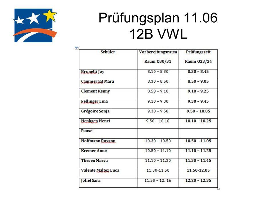 Prüfungsplan 11.06 12B VWL