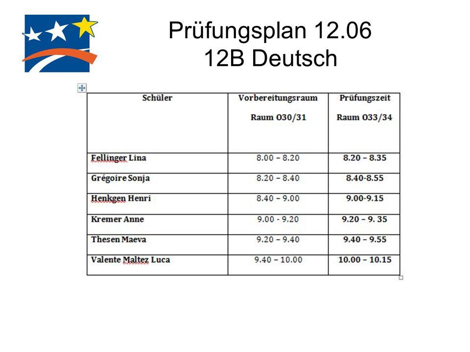 Prüfungsplan 12.06 12B Deutsch