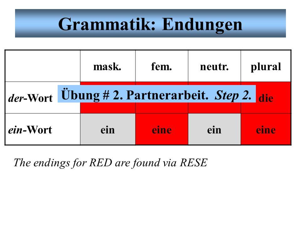 Grammatik: Endungen Es gibt Endungen für sogenannte (so-called) der-Wörter (words) –der, die, das, etc.