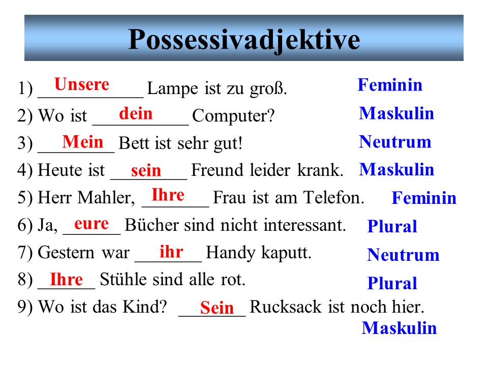 Grammatik: Endungen mask.fem.neutr.plural der-Wortderdiedasdie ein-Worteineineeineine The endings for RED are found via RESE Übung # 2. Partnerarbeit.