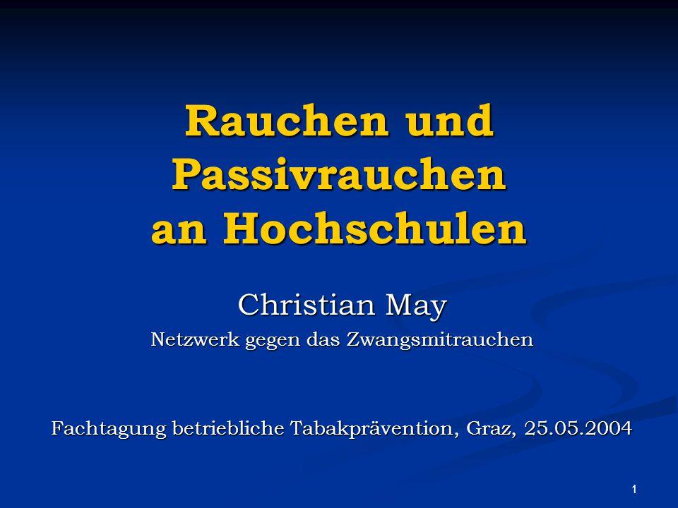 1 Rauchen und Passivrauchen an Hochschulen Christian May Netzwerk gegen das Zwangsmitrauchen Fachtagung betriebliche Tabakprävention, Graz, 25.05.2004