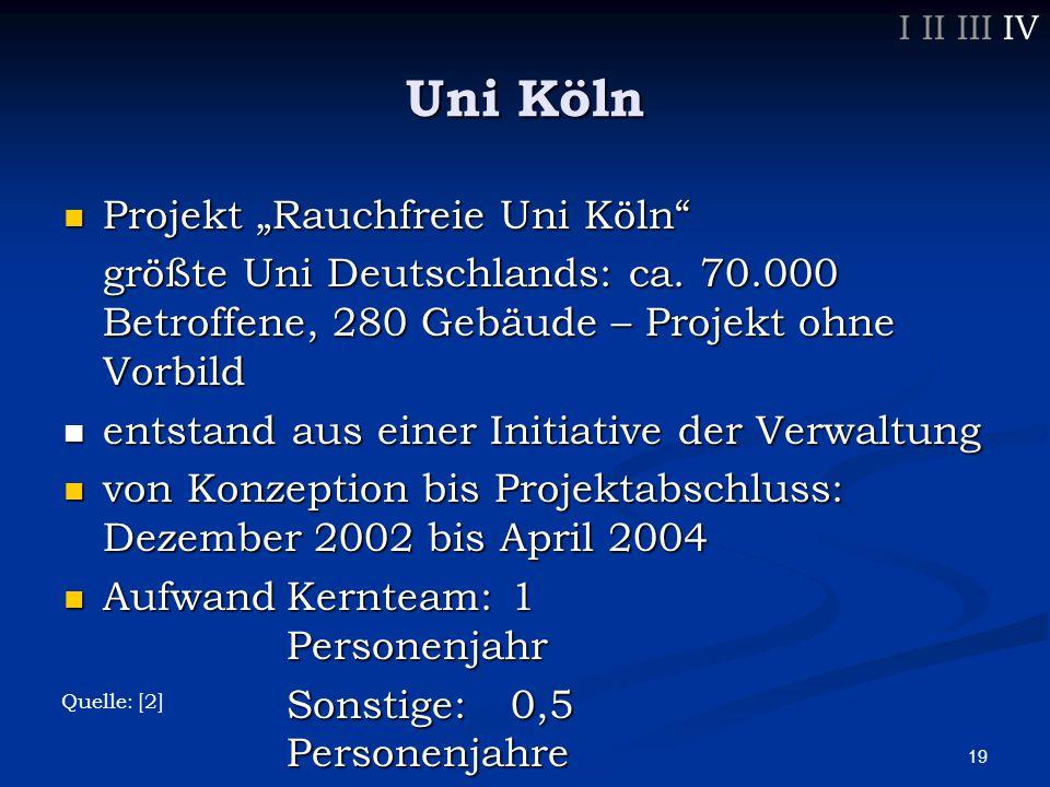 "19 Uni Köln Projekt ""Rauchfreie Uni Köln Projekt ""Rauchfreie Uni Köln größte Uni Deutschlands: ca."