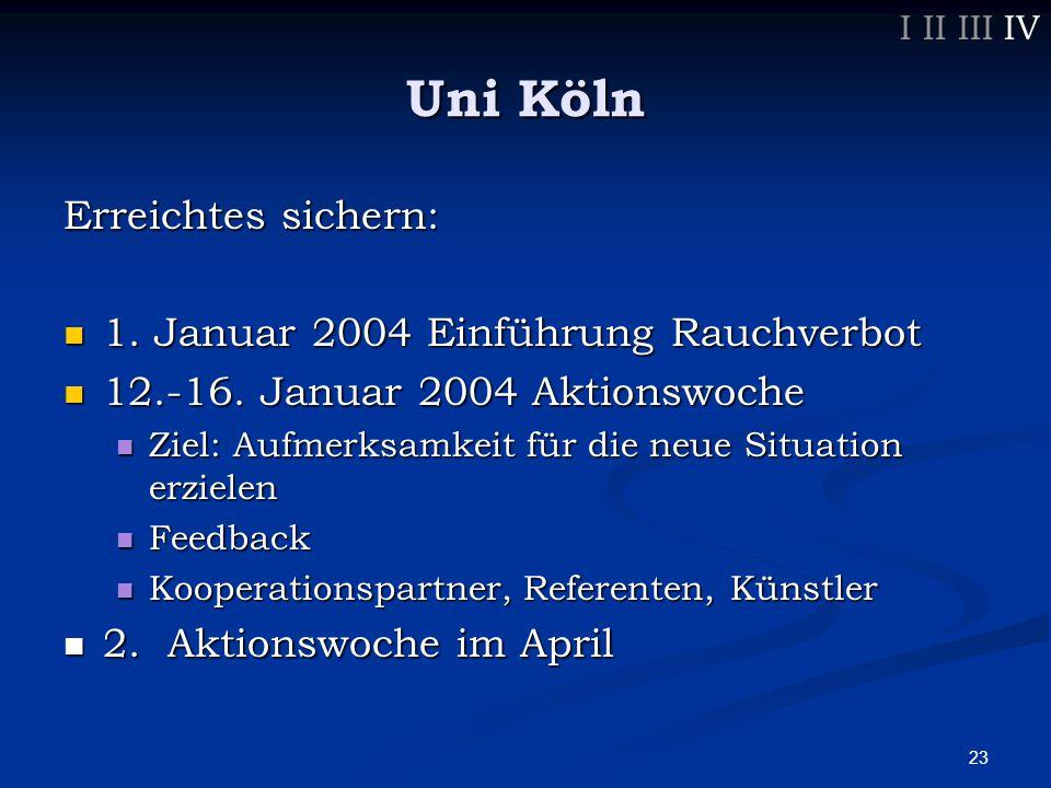 23 Erreichtes sichern: 1. Januar 2004 Einführung Rauchverbot 1.