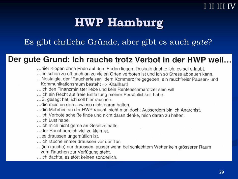 29 I II III IV HWP Hamburg Es gibt ehrliche Gründe, aber gibt es auch gute