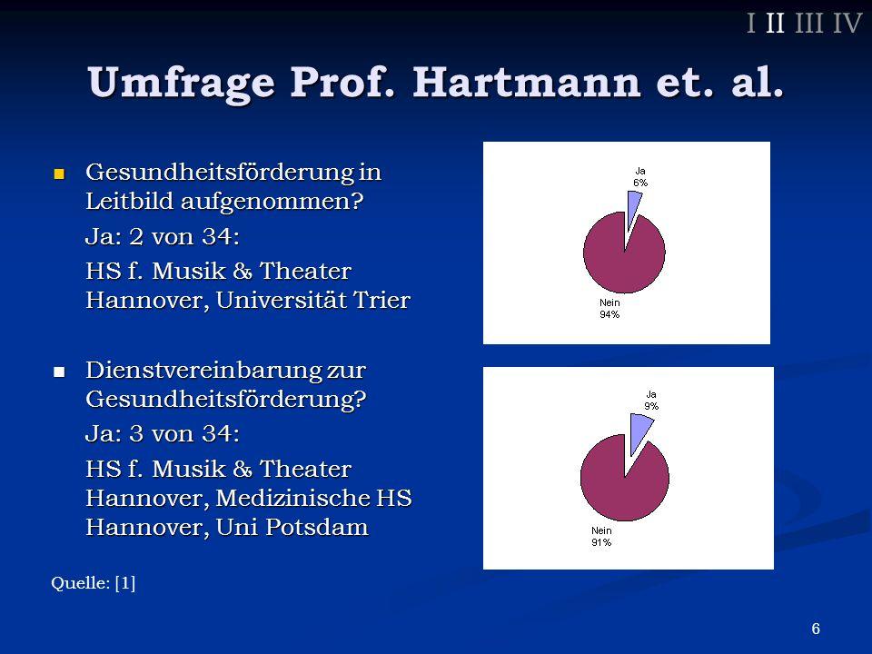 6 Umfrage Prof. Hartmann et. al. Gesundheitsförderung in Leitbild aufgenommen.