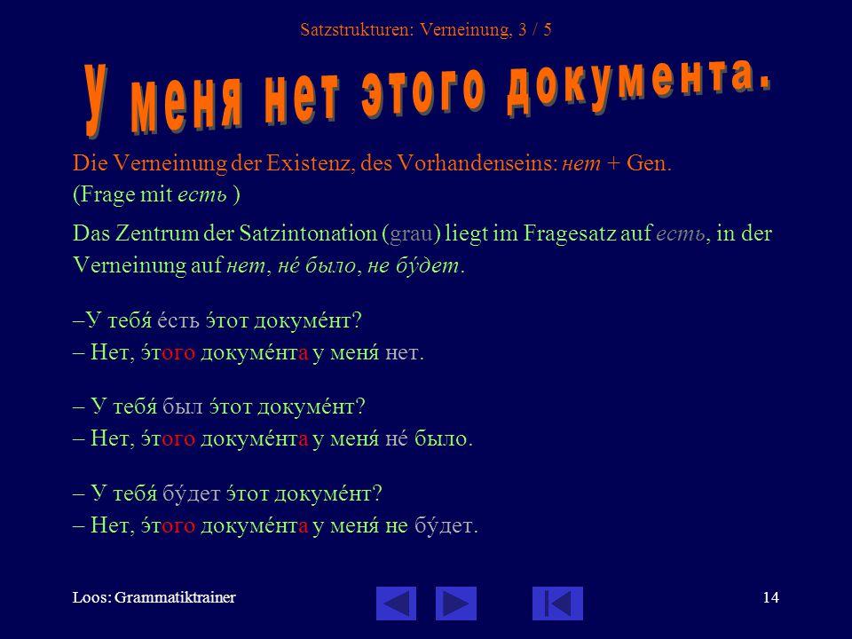Loos: Grammatiktrainer14 Satzstrukturen: Verneinung, 3 / 5 Die Verneinung der Existenz, des Vorhandenseins: нет + Gen.