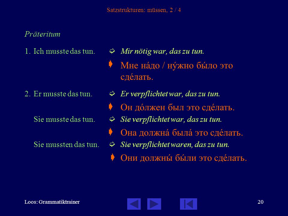 Loos: Grammatiktrainer20 Satzstrukturen: müssen, 2 / 4 Präteritum 1.Ich musste das tun.