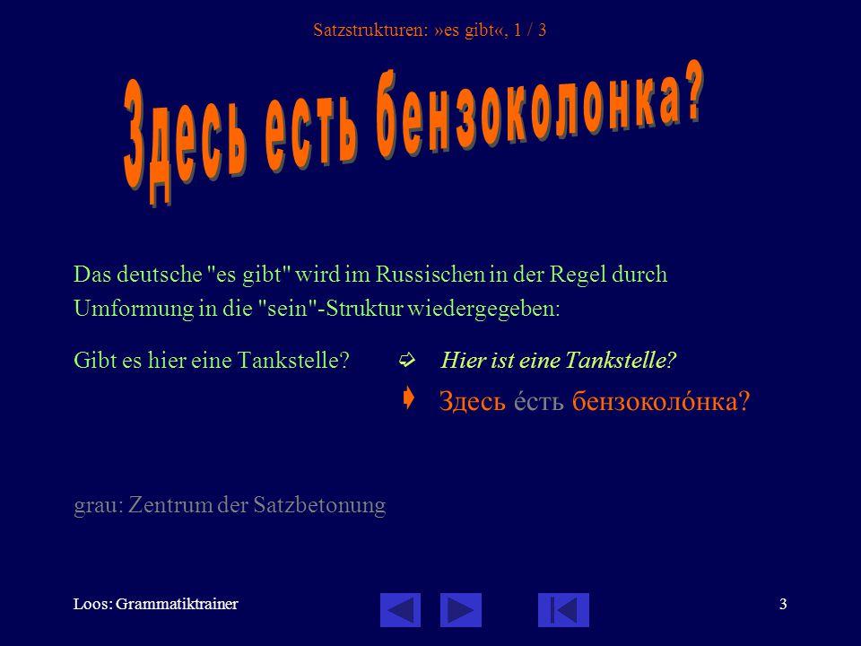 Loos: Grammatiktrainer3 Satzstrukturen: »es gibt«, 1 / 3 Das deutsche es gibt wird im Russischen in der Regel durch Umformung in die sein -Struktur wiedergegeben: Gibt es hier eine Tankstelle.
