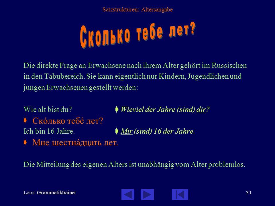 Loos: Grammatiktrainer31 Satzstrukturen: Altersangabe Die direkte Frage an Erwachsene nach ihrem Alter gehört im Russischen in den Tabubereich.