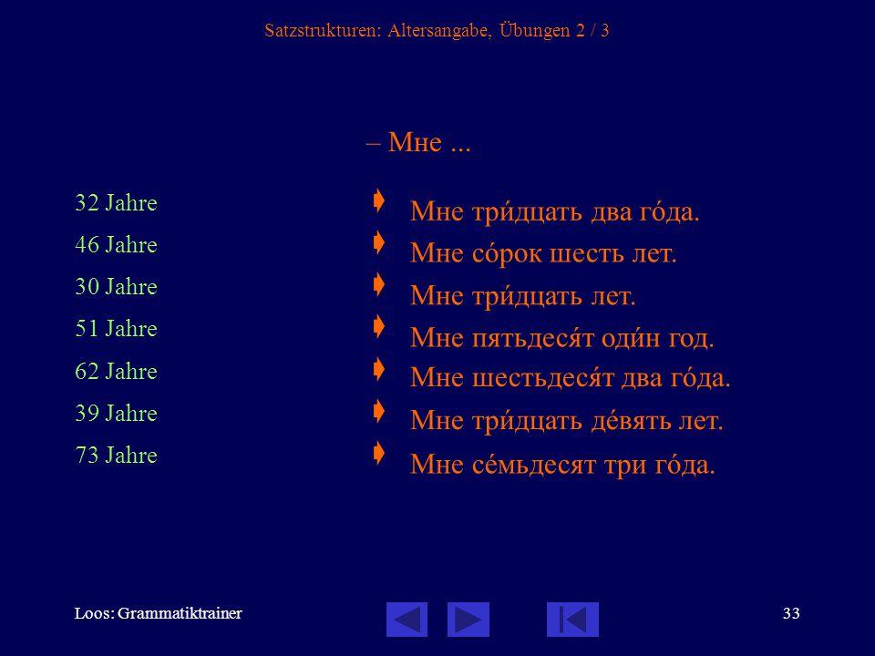 Loos: Grammatiktrainer33 Satzstrukturen: Altersangabe, Übungen 2 / 3 – Мне...