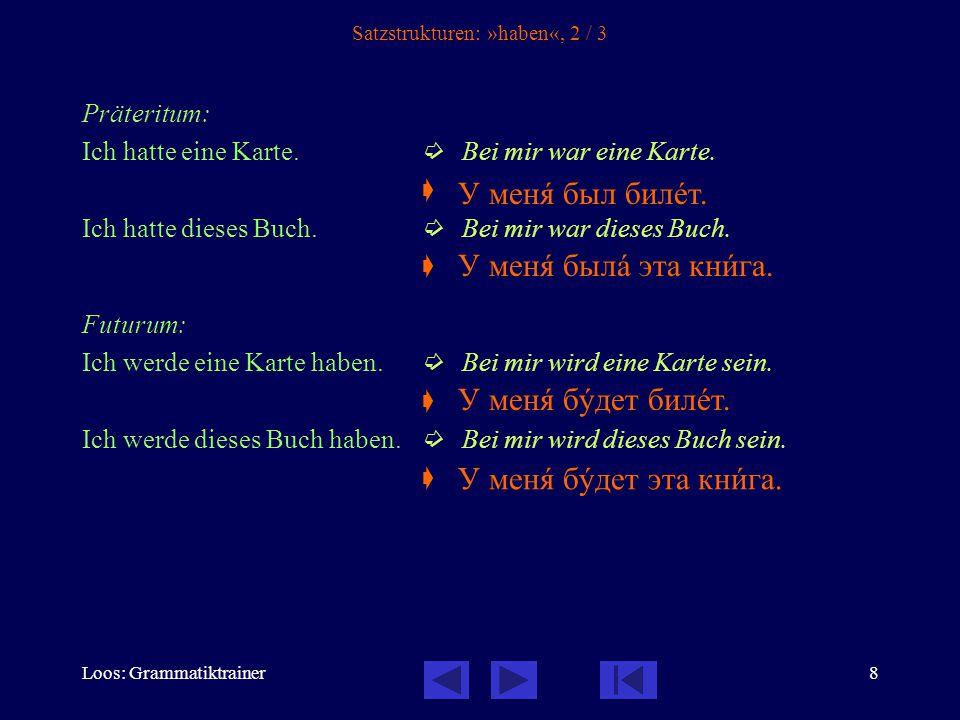 Loos: Grammatiktrainer8 Satzstrukturen: »haben«, 2 / 3 Präteritum: Ich hatte eine Karte.