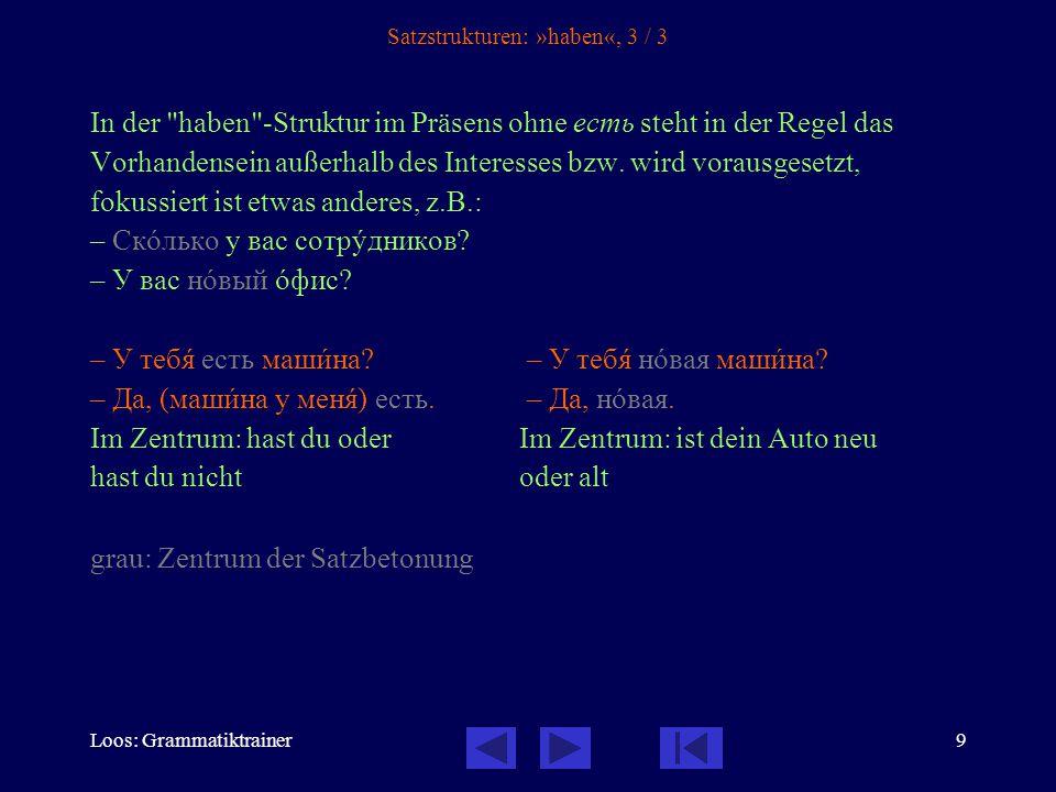 Loos: Grammatiktrainer9 Satzstrukturen: »haben«, 3 / 3 In der haben -Struktur im Präsens ohne есть steht in der Regel das Vorhandensein außerhalb des Interesses bzw.