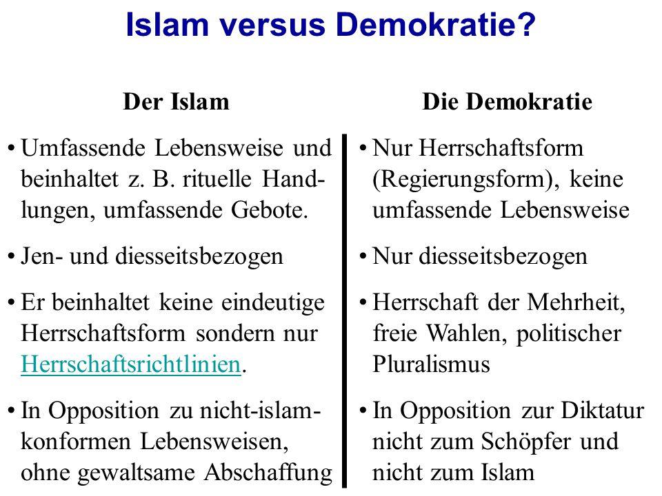 Der Islam Umfassende Lebensweise und beinhaltet z.
