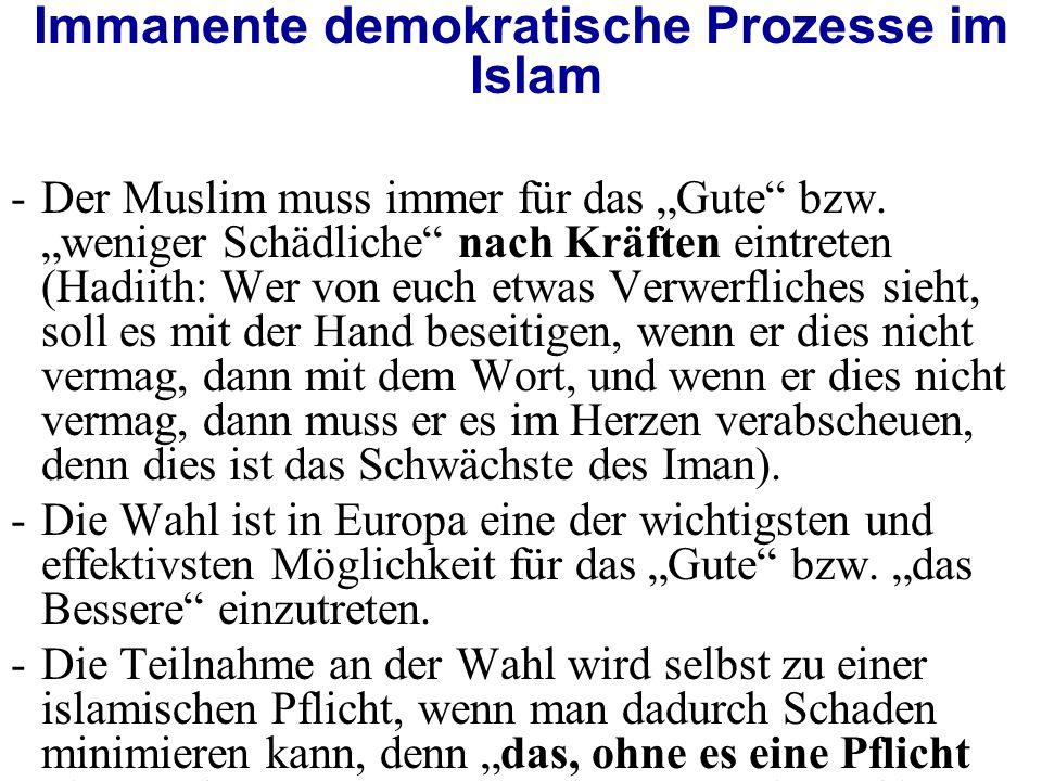 """Immanente demokratische Prozesse im Islam -Der Muslim muss immer für das """"Gute bzw."""