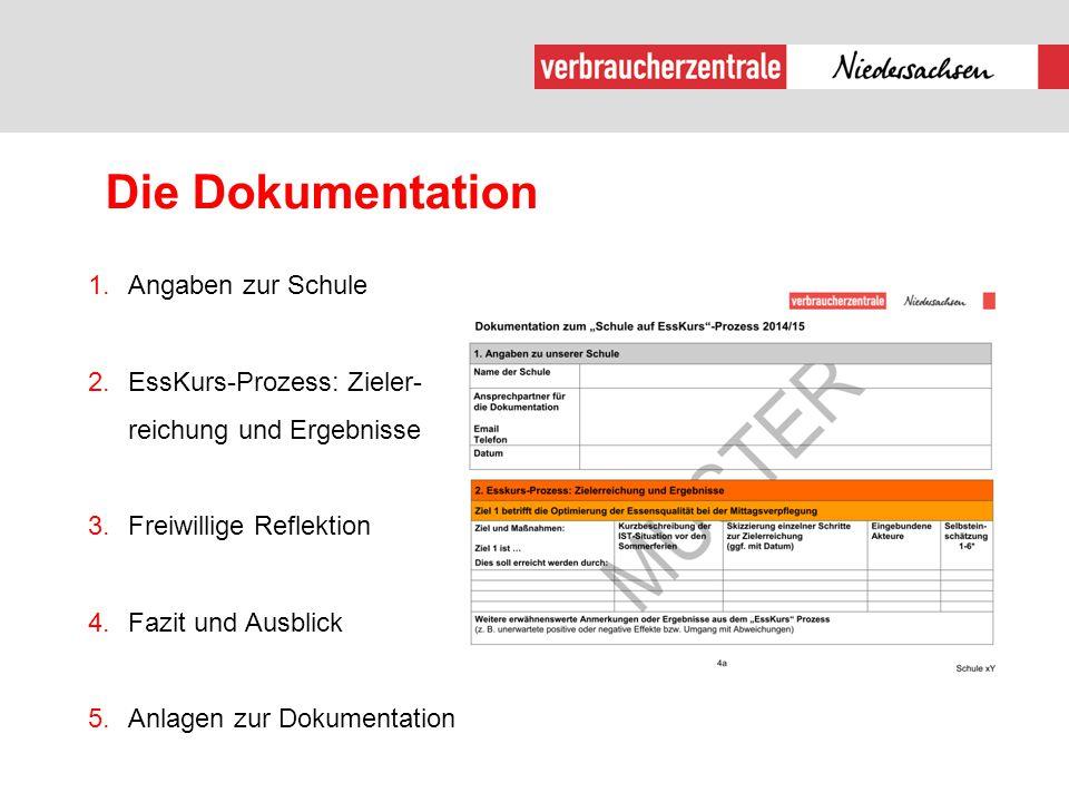 Die Dokumentation 1.Angaben zur Schule 2.EssKurs-Prozess: Zieler- reichung und Ergebnisse 3.Freiwillige Reflektion 4.Fazit und Ausblick 5.Anlagen zur
