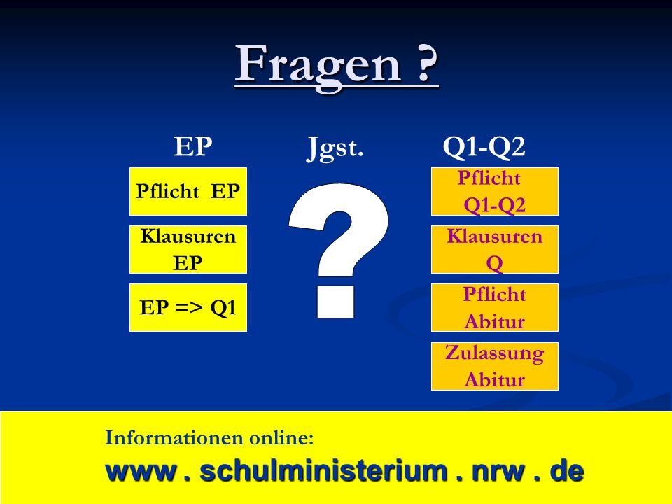 Fragen ? Pflicht EP EP => Q1 Pflicht Q1-Q2 Zulassung Abitur Pflicht Abitur Klausuren EP Klausuren Q EPJgst.Q1-Q2 www. schulministerium. nrw. de Inform