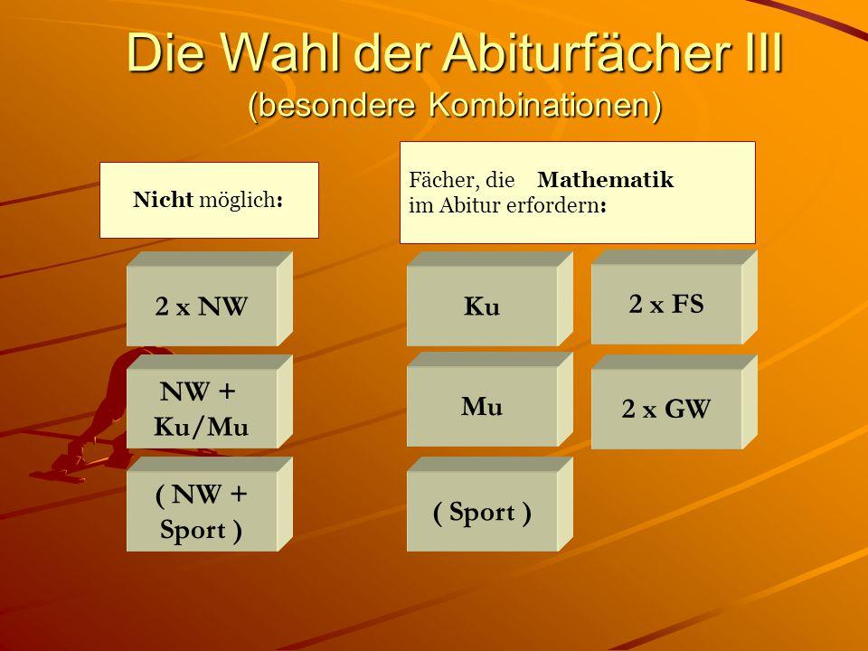 2 x NW Die Wahl der Abiturfächer III (besondere Kombinationen) Nicht möglich: ( NW + Sport ) NW + Ku/Mu Ku ( Sport ) Mu 2 x FS 2 x GW Fächer, die Mathematik im Abitur erfordern: