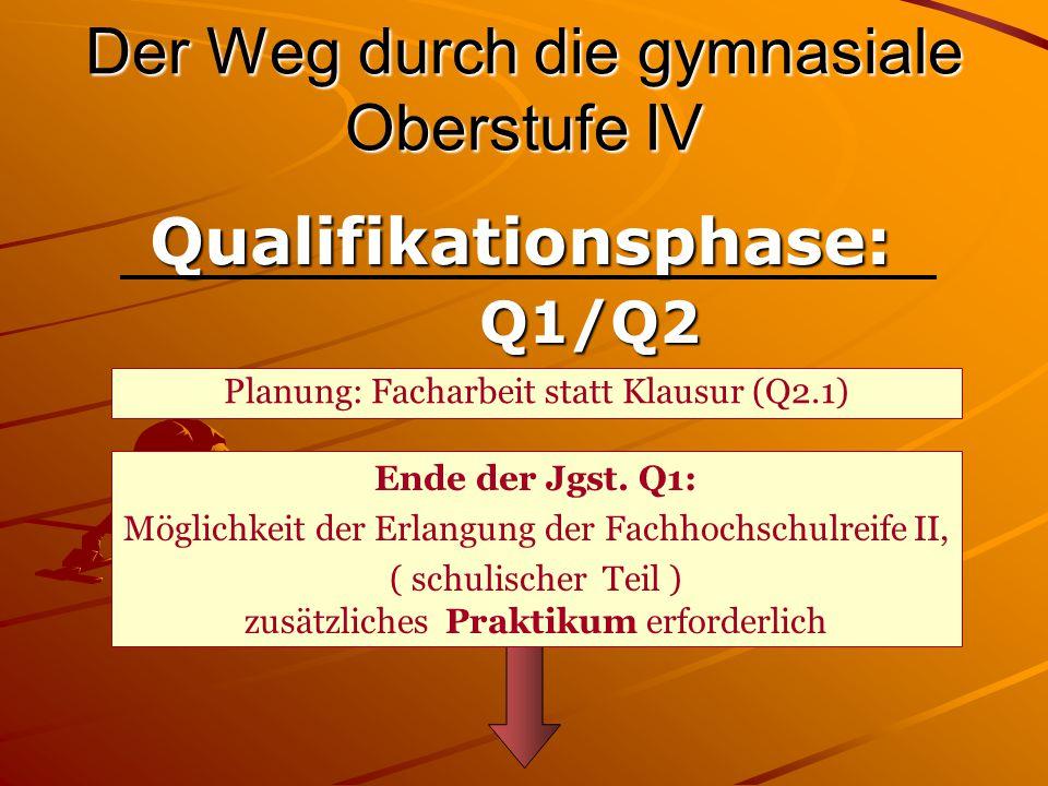 Der Weg durch die gymnasiale Oberstufe IV Qualifikationsphase: Q1/Q2 Q1/Q2 Ende der Jgst. Q1: Möglichkeit der Erlangung der Fachhochschulreife II, ( s