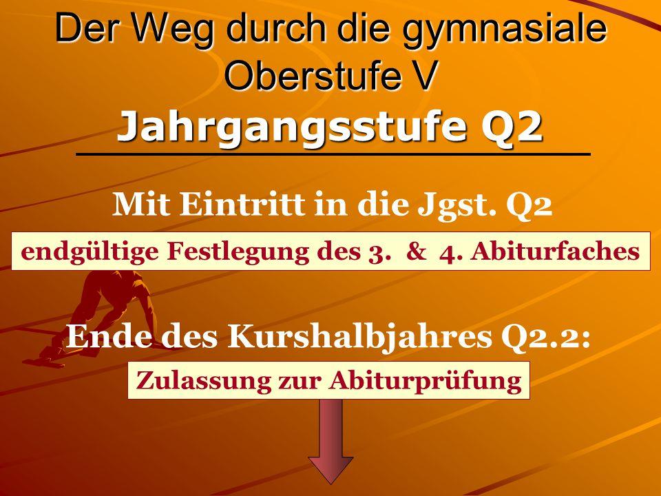 Der Weg durch die gymnasiale Oberstufe V Jahrgangsstufe Q2 Ende des Kurshalbjahres Q2.2: Mit Eintritt in die Jgst. Q2 endgültige Festlegung des 3. & 4