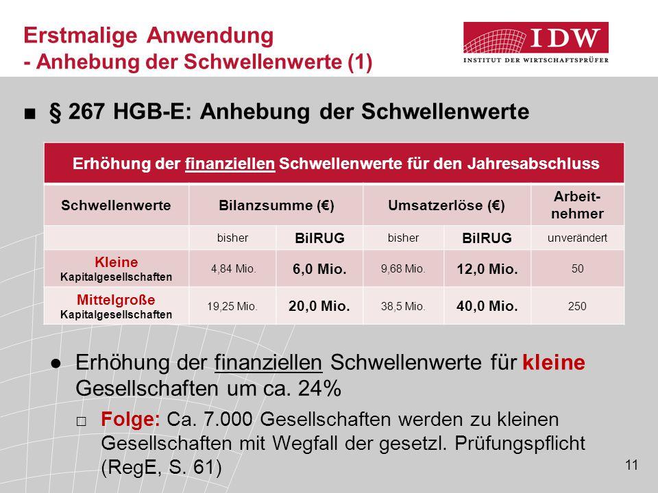 11 Erstmalige Anwendung - Anhebung der Schwellenwerte (1) ■§ 267 HGB-E: Anhebung der Schwellenwerte ●Erhöhung der finanziellen Schwellenwerte für klei