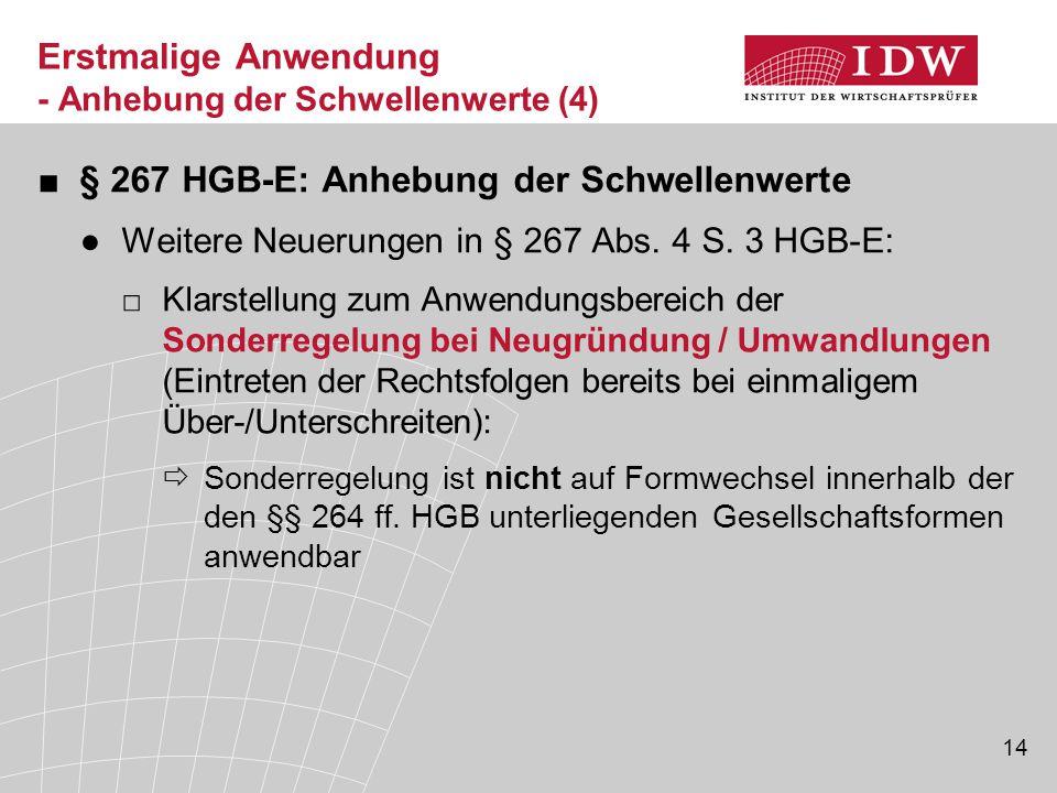 14 Erstmalige Anwendung - Anhebung der Schwellenwerte (4) ■§ 267 HGB-E: Anhebung der Schwellenwerte ●Weitere Neuerungen in § 267 Abs.