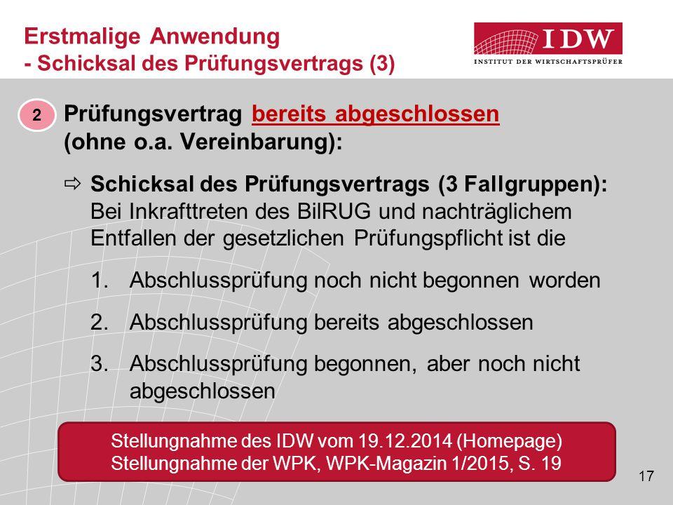 17 ■ Prüfungsvertrag bereits abgeschlossen (ohne o.a. Vereinbarung):  Schicksal des Prüfungsvertrags (3 Fallgruppen): Bei Inkrafttreten des BilRUG un