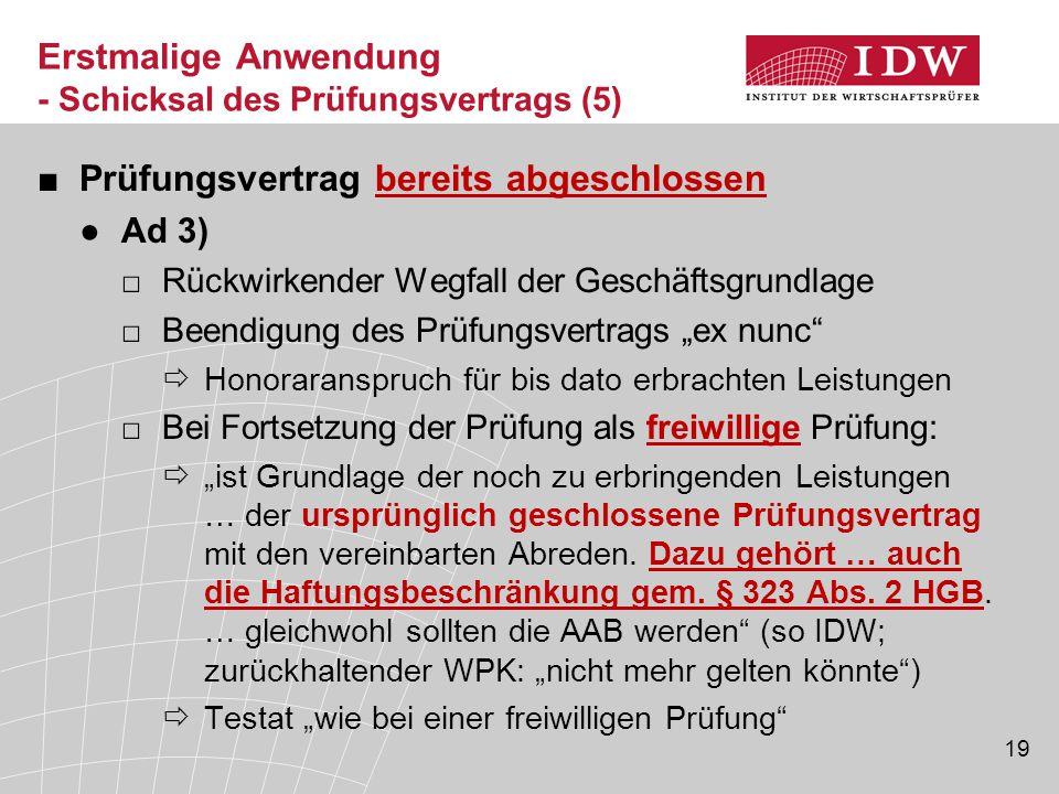 """19 ■Prüfungsvertrag bereits abgeschlossen ●Ad 3) □Rückwirkender Wegfall der Geschäftsgrundlage □Beendigung des Prüfungsvertrags """"ex nunc""""  Honorarans"""