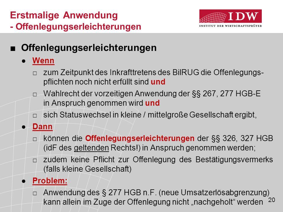 20 ■Offenlegungserleichterungen ●Wenn □zum Zeitpunkt des Inkrafttretens des BilRUG die Offenlegungs- pflichten noch nicht erfüllt sind und □Wahlrecht