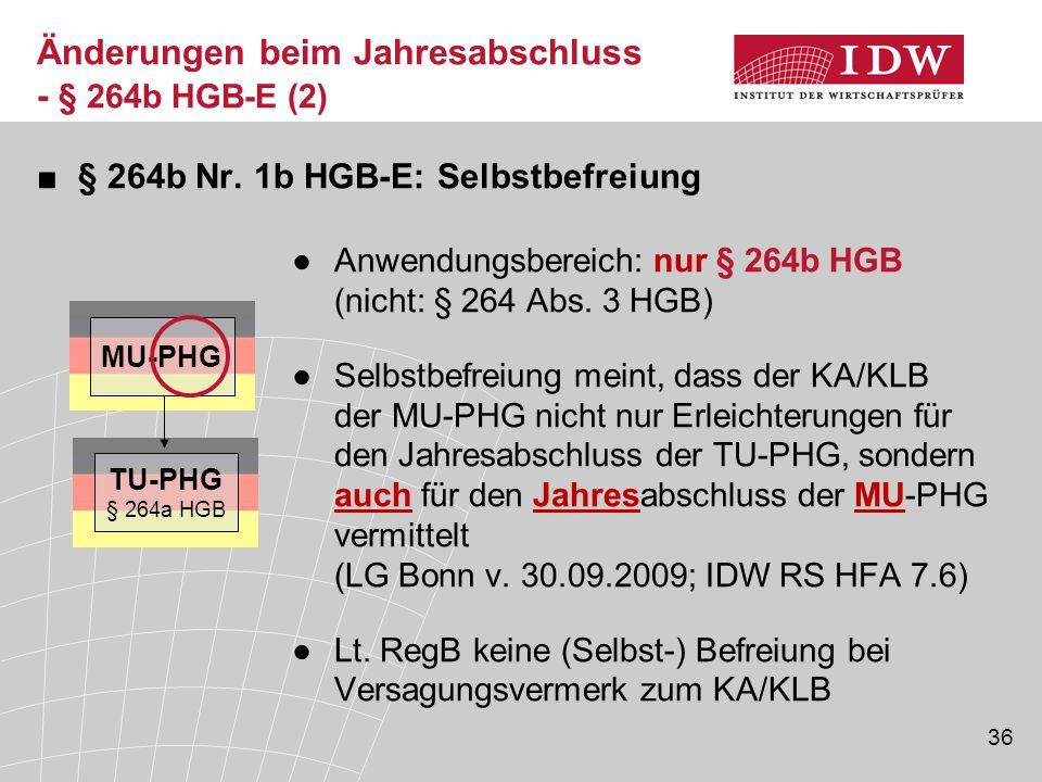 36 ■§ 264b Nr. 1b HGB-E: Selbstbefreiung ●Anwendungsbereich: nur § 264b HGB (nicht: § 264 Abs. 3 HGB) ●Selbstbefreiung meint, dass der KA/KLB der MU-P