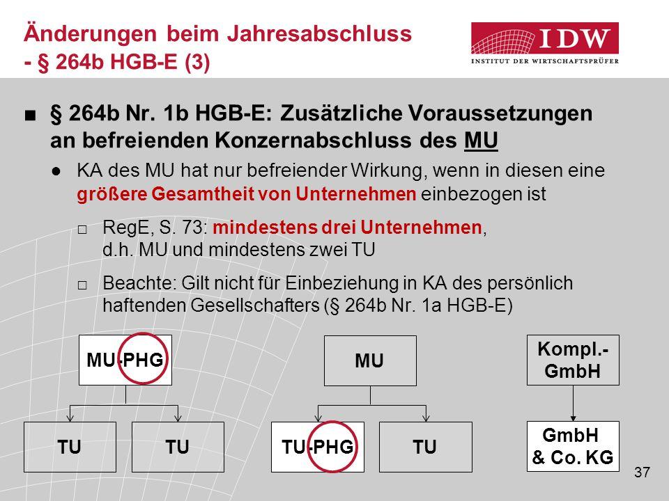 37 ■§ 264b Nr. 1b HGB-E: Zusätzliche Voraussetzungen an befreienden Konzernabschluss des MU ●KA des MU hat nur befreiender Wirkung, wenn in diesen ein