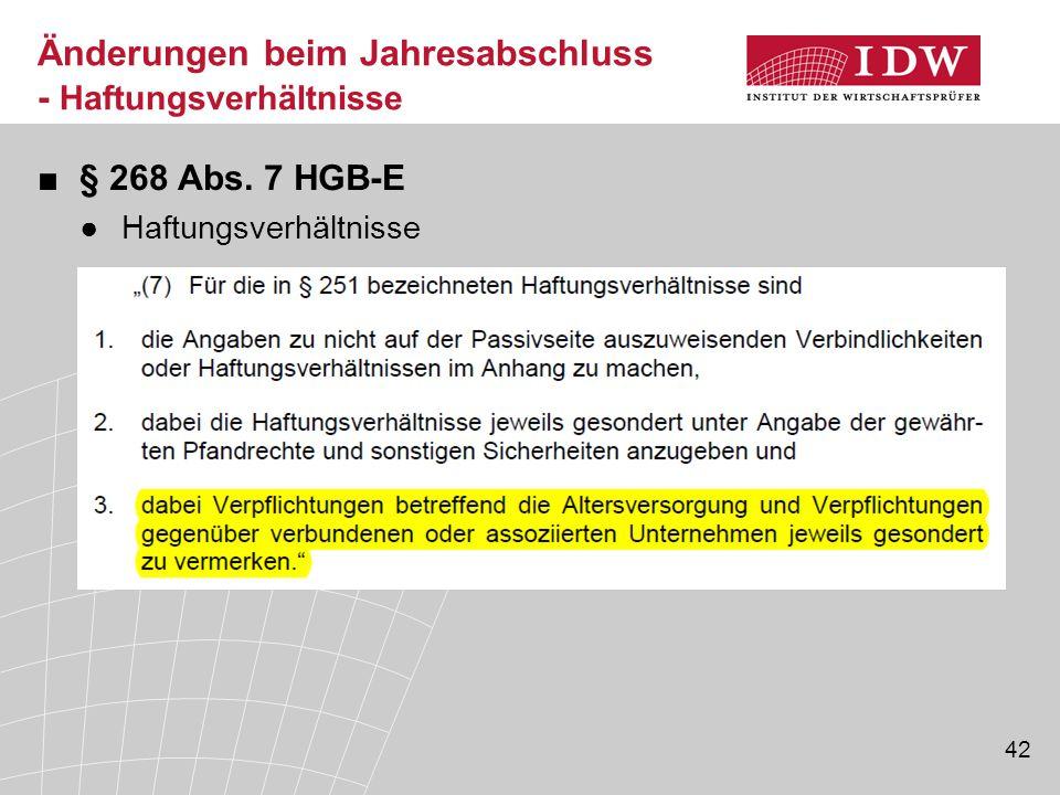42 ■§ 268 Abs. 7 HGB-E ●Haftungsverhältnisse Änderungen beim Jahresabschluss - Haftungsverhältnisse