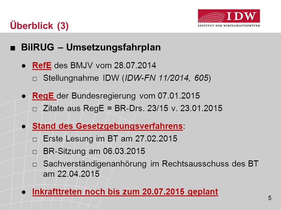5 Überblick (3) ■BilRUG – Umsetzungsfahrplan ●RefE des BMJV vom 28.07.2014 □Stellungnahme IDW (IDW-FN 11/2014, 605) ●RegE der Bundesregierung vom 07.01.2015 □Zitate aus RegE = BR-Drs.