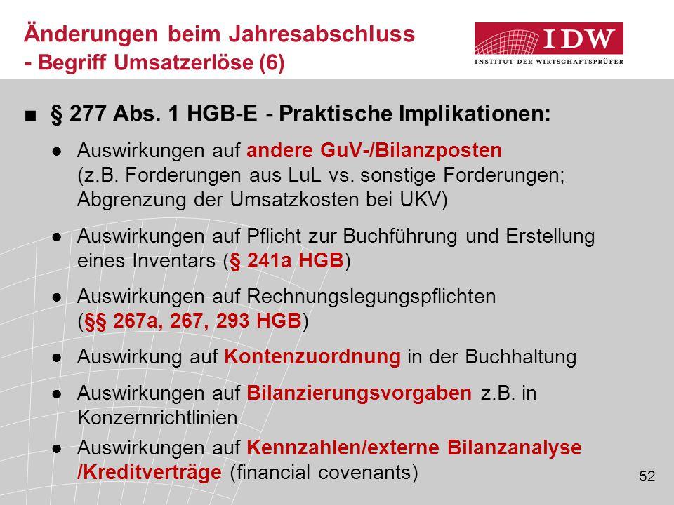 52 ■§ 277 Abs. 1 HGB-E - Praktische Implikationen: ●Auswirkungen auf andere GuV-/Bilanzposten (z.B. Forderungen aus LuL vs. sonstige Forderungen; Abgr