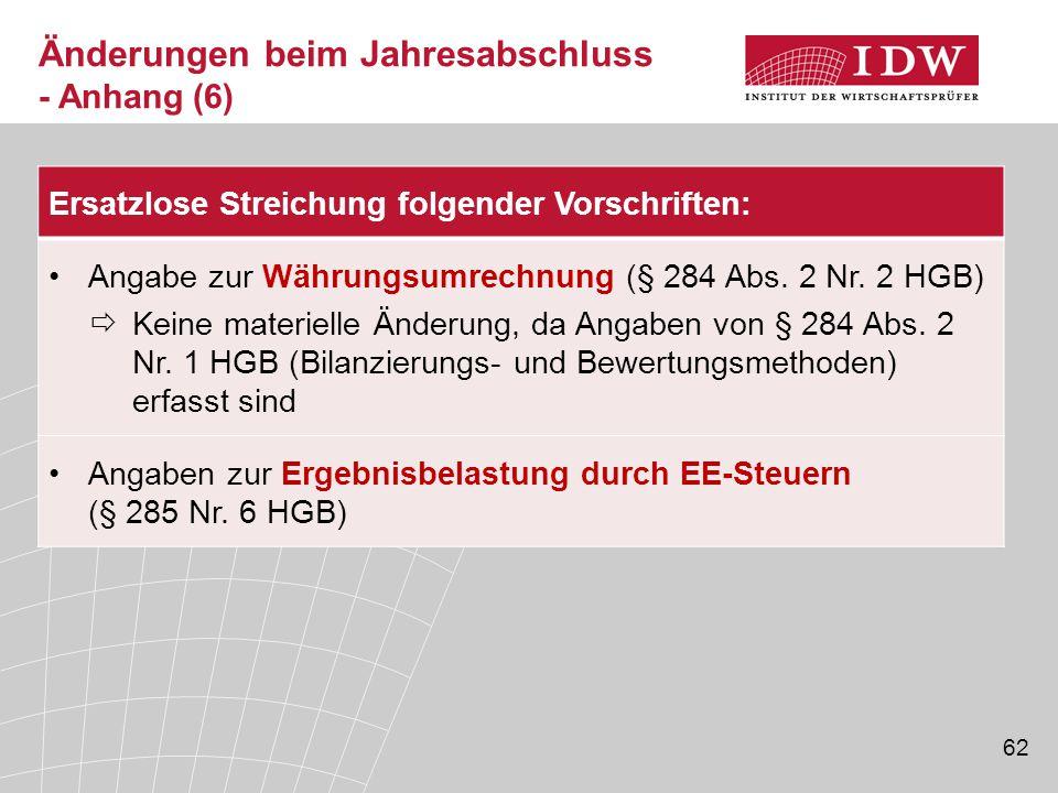 62 Ersatzlose Streichung folgender Vorschriften: Angabe zur Währungsumrechnung (§ 284 Abs.