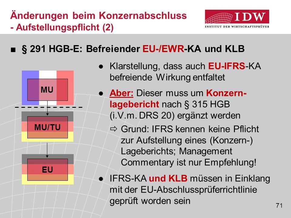 71 Änderungen beim Konzernabschluss - Aufstellungspflicht (2) ■§ 291 HGB-E: Befreiender EU-/EWR-KA und KLB MU MU/TU EU ●Klarstellung, dass auch EU-IFR
